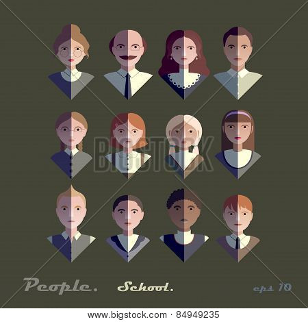 Set Of Vintage Flat Icons School Or College Students And Teachers