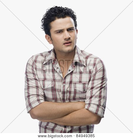 Portrait of a man looking confused