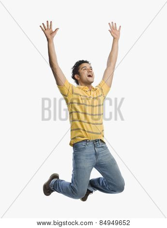 Man jumping in excitement