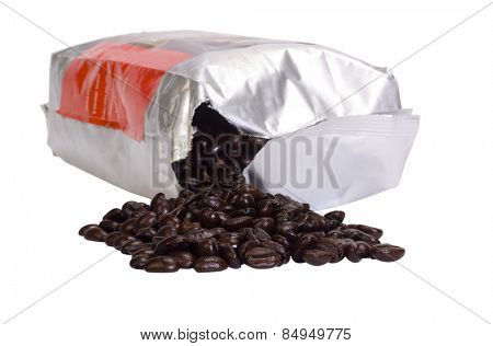 Coffee beans spilling out from packet