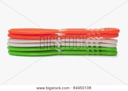Scrubbers representing Indian flag colors