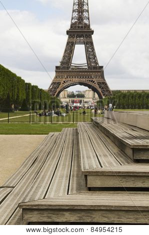 Steps with a tower in the background, Eiffel Tower, Champ De Mars, Paris, France