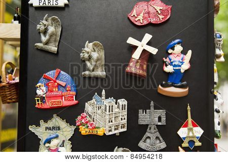 Souvenirs at a market stall, Paris, France