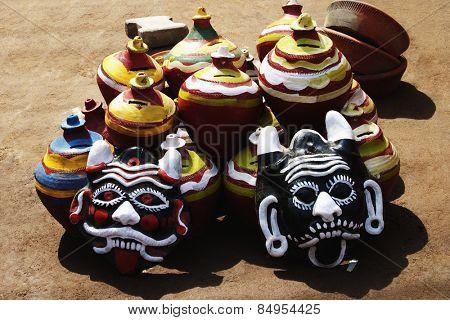 Decorative pots with nazar battus at a market stall, Delhi, India