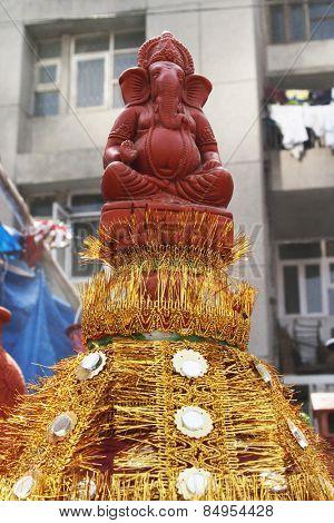 Close-up of a decorative pot, Delhi, India