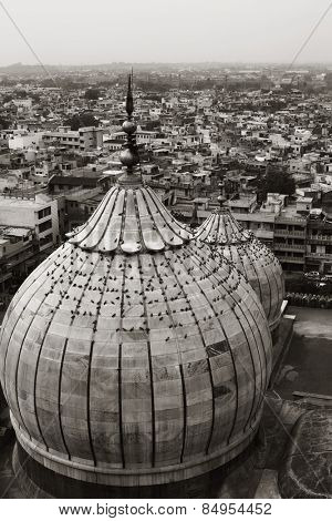 Domes of a mosque with cityscape, Jama Masjid, Delhi, India