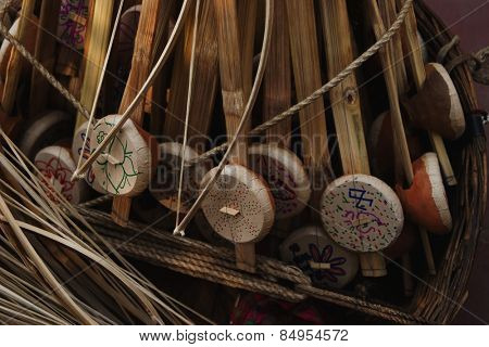 Craft products for sale in market stall, New Delhi, India