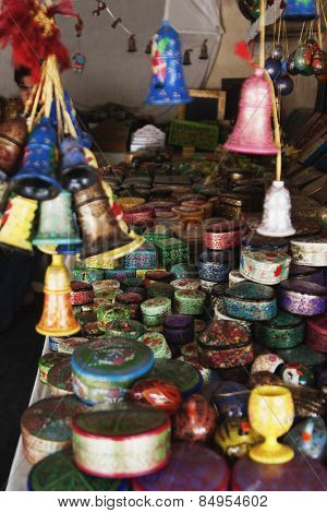 Craft products for sale at a market stall, New Delhi, India