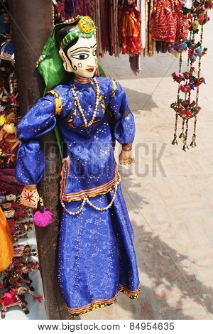 Traditional puppet at a market stall, New Delhi, India