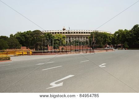 Facade of a government building, Sansad Bhavan, New Delhi, India