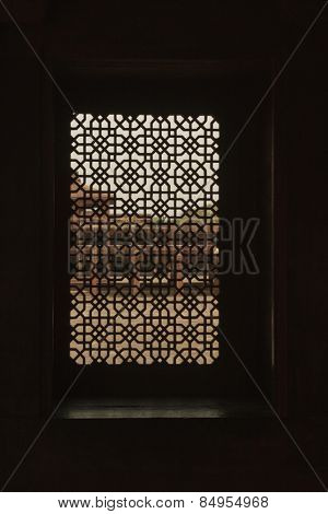 Architectural detail of patterned window, Fatehpur Sikri, Agra, Uttar Pradesh, India