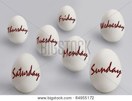 Eggs with weekdays written on them