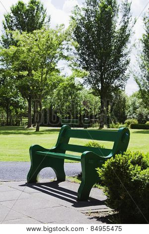 Empty bench in a park, Adare, County Limerick, Republic of Ireland