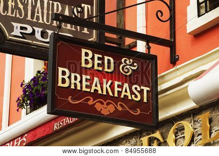Signboard of a bed and breakfast, Kenmare, County Kerry, Republic of Ireland
