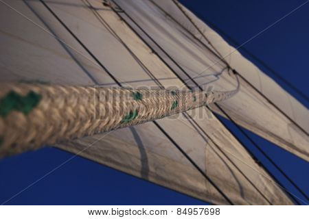 Sails of a clipper ship, Amalfi, Province Of Salerno, Gulf Of Salerno, Tyrrhenian Sea, Campania, Italy