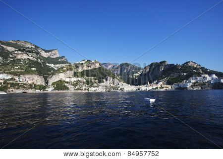 Buildings at the waterfront, Amalfi, Province Of Salerno, Gulf Of Salerno, Tyrrhenian Sea, Campania, Italy