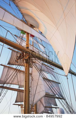 Sail of a clipper ship, Amalfi, Province Of Salerno, Gulf Of Salerno, Tyrrhenian Sea, Campania, Italy