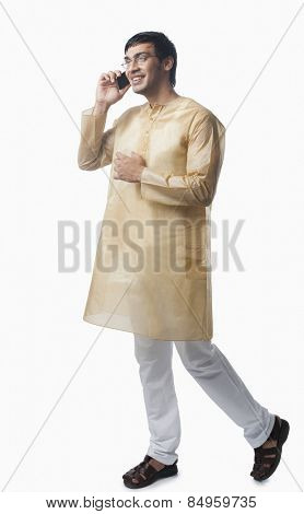 Bengali man talking on a mobile phone