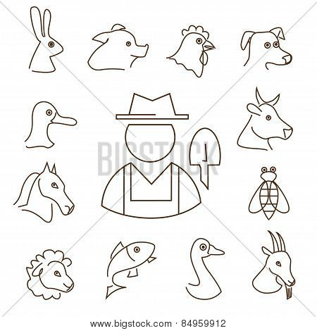 Farm Animals Linear Icons Set, Thin Lines Silhouettes Of Animals Heads