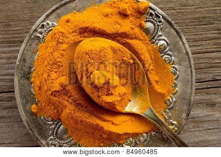 Curcuma Powder On Cooper Spoon In Silver Plate