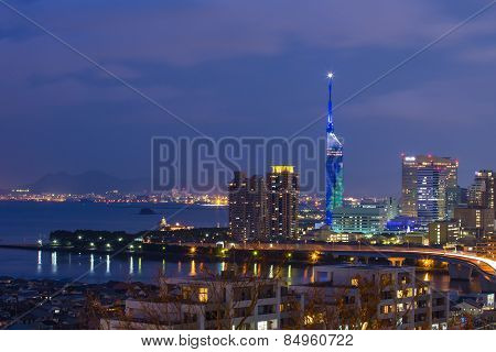 Cityscape Of Fukuoka In North Kyushu, Japan