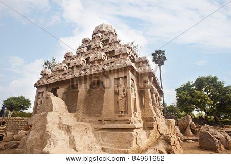 Ancient Pancha Rathas temple at Mahabalipuram, Kanchipuram District, Tamil Nadu, India