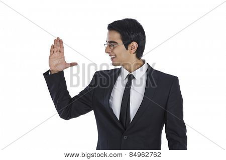 Close-up of a businessman gesturing