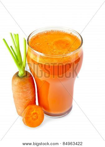 Juice carrot in glassful
