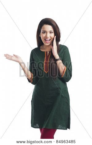 Portrait of a happy woman gesturing