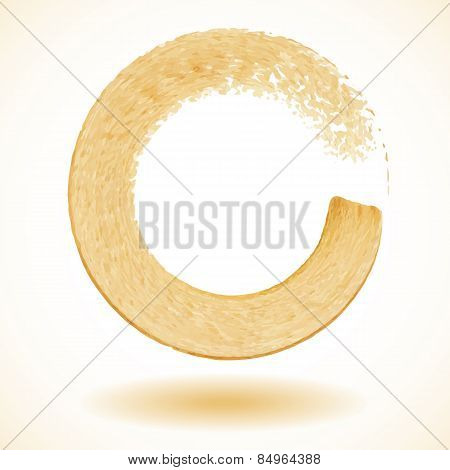 Gold paintbrush circle vector frame