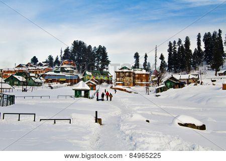 Snow covered tourist resort, Kashmir, Jammu And Kashmir, India