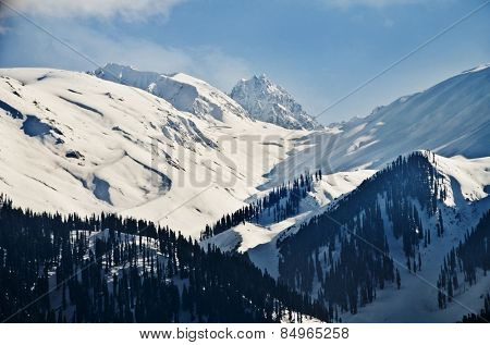 Snow covered mountains in winter, Gulmarg, Jammu And Kashmir, India