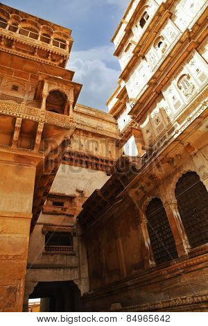 Architectural detail of a fort, Jaisalmer Fort, Jaisalmer, Rajasthan, India