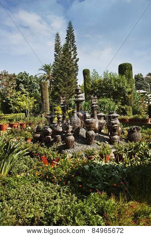 Decorative urns in a park, Peace Park, Mount Abu, Sirohi District, Rajasthan, India