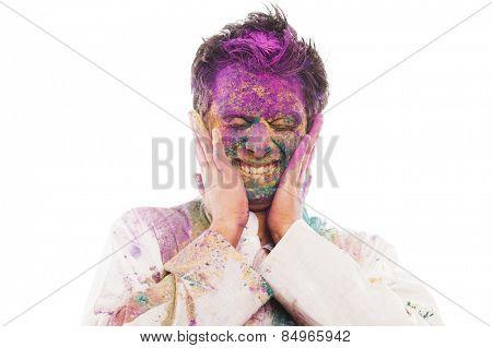 Man celebrating Holi