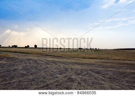 Tire tracks on a dirt road, Jaisalmer, Rajasthan, India