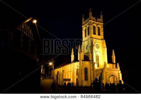 Christ Church at night, Shimla, Himachal Pradesh, India