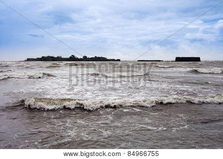 Waves in the sea, Alibag, Raigad District, Konkan, Maharashtra, India