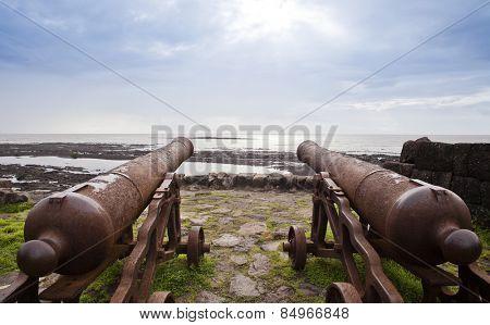 Cannons on the beach, Alibag, Raigad District, Konkan, Maharashtra, India