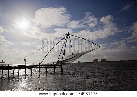 Chinese fishing net in the sea, Cochin, Kerala, India