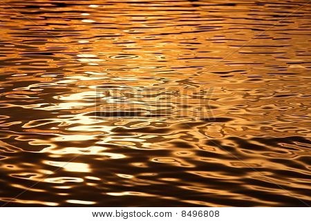 Textured Water Surface On Sunset