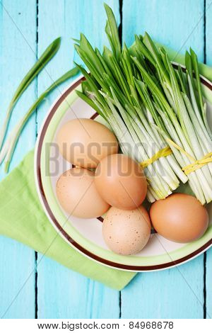 Ramson And Boiled Eggs, Top View