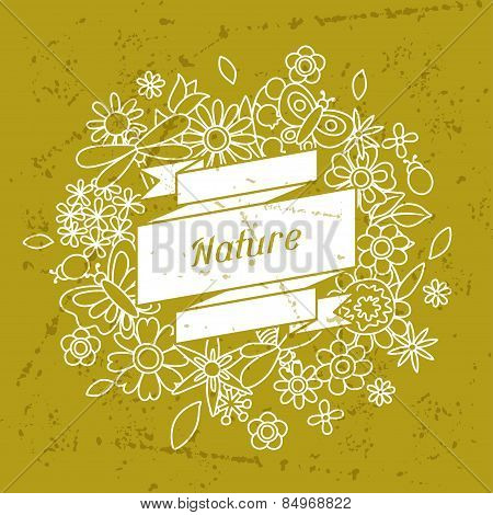 Card with beautiful simple flowers, beetles and butterflies