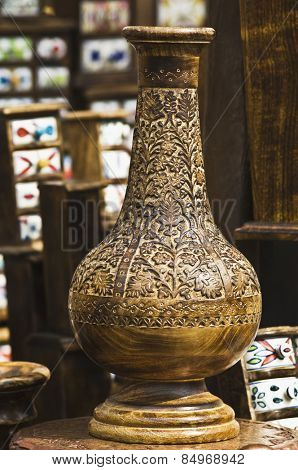 Close-up of an antique decorative urn in a souvenir shop