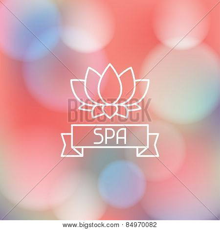 Spa wellness label on blurred background