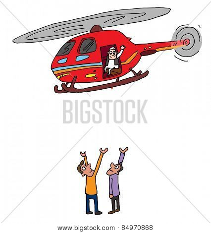 Illustrative representation of an Indian politician helicopter visit