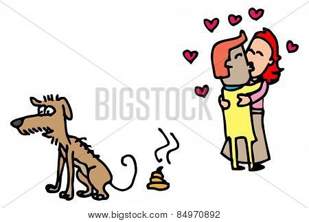 Illustrative representation of Dog Poo and Love Birds