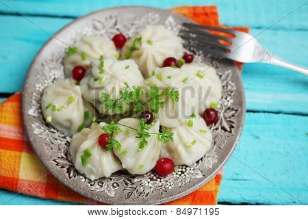 Khinkali With Cranberries And Parsley