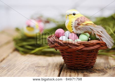Bird Sitting In A Small Basket