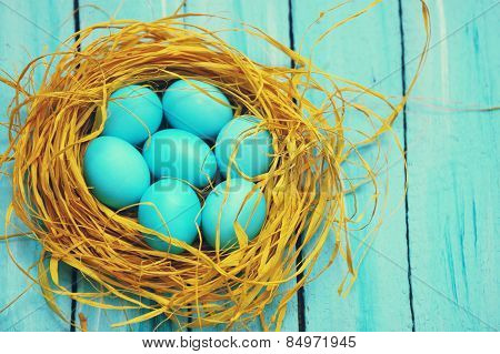 Blue Eggs In The Nest, Top View